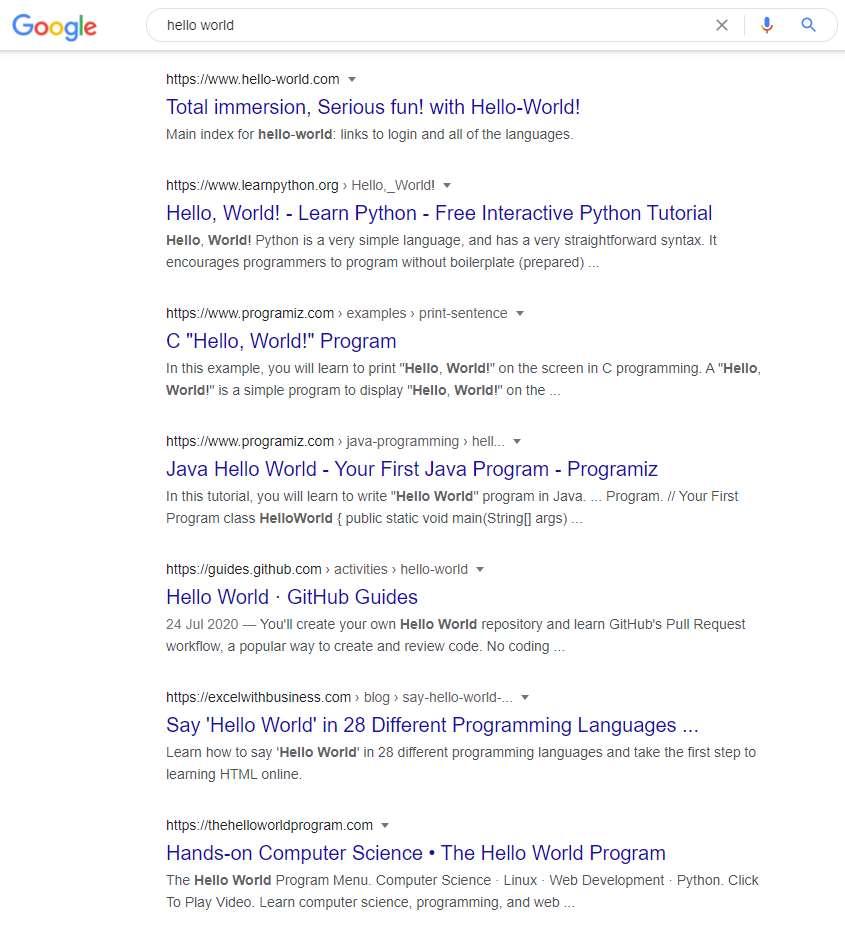 ioc google hello world search